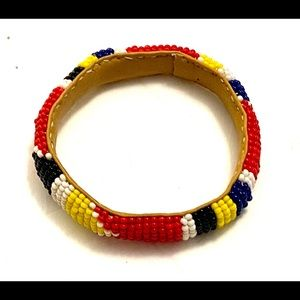 Boho beaded leather bracelet vintage